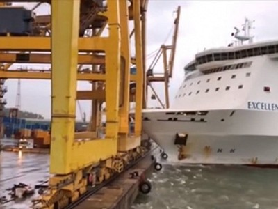 Grandi Navi Veloci' ferry Excellent collides with crane in Barcelona Port causing fire