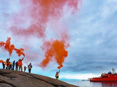 Aurora Australis saluted as Antarctic icebreaker begins final voyage