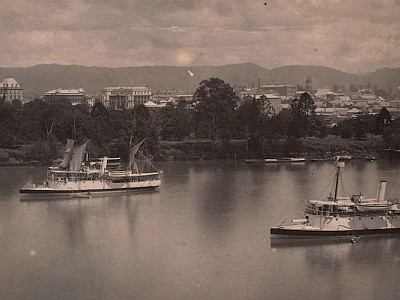 Overlooking the Town Reach of the Brisbane River, Brisbane, ca. 1885