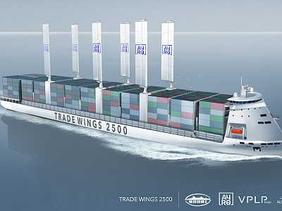 """Innovative 2,500 TEU Container Vessel """"Trade Wings 2,500"""" from VPLP Design, Alwena Shipping, SDARI and AYRO receives Approval in Principle from Bureau Veritas"""