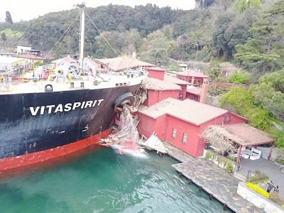 Ship crashes into waterfront mansion in Istanbul's Bosporus after rudder gets stuck