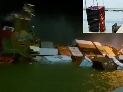 Container ship capsized in Surabaya