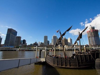Australia's only 15th-century caravel, Notorious, sails into Brisbane River
