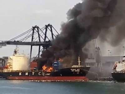 Chemical cargo on board KMTC Hong Kong catches fire in Thai port, three piers closed