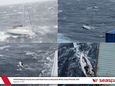Seaspan's COSCO Malaysia Rescues Four From Disabled Yacht