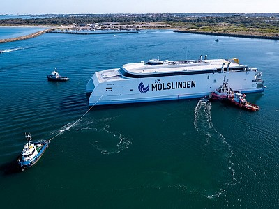 AUSTAL SUCCESSFULLY LAUNCHES 109M HIGH SPEED CATAMARAN FOR MOLSLINJEN OF DENMARK