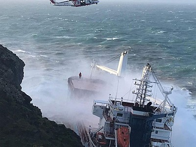 Cargo ship grounded by storm, crew evacuated, Italy