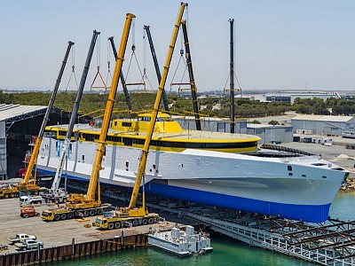AUSTAL AUSTRALIA ROLLS OUT 118 METRE TRIMARAN FOR FRED. OLSEN EXPRESS