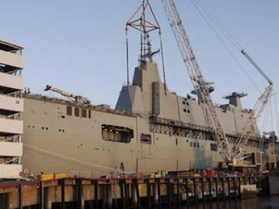 HMAS Canberra starts to take shape