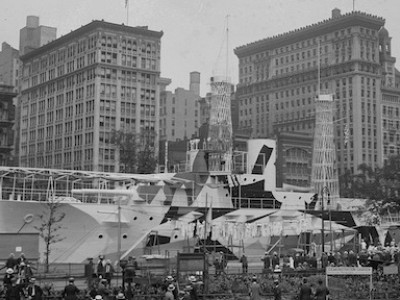 1917, The battleship in Union Square, New York