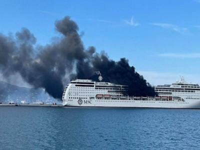 Fire on MSC Lirica in Port of Corfu
