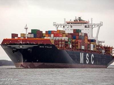 MSC-operated ship loses 23 containers overboard off South Africa