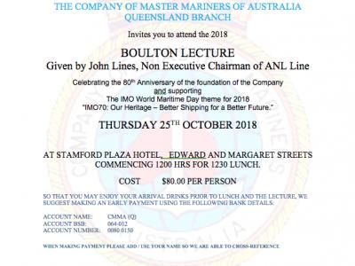 Boulton Lecture, Thursday 25 October 2018