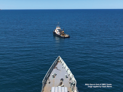 Towing HMAS Darwin from Sydney to Perth