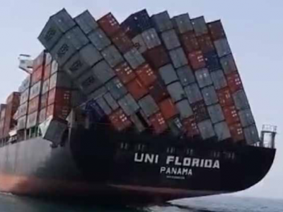 Vessel UNI Florida Arrives In UAE With Toppled  Containers