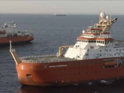 The UK and Australia's two new polar research ships rendezvoused off the coast of Falmouth, UK during sea trials.