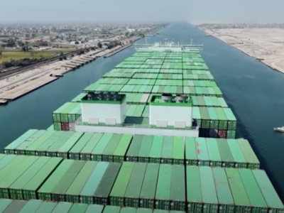 World's largest containership makes its first crossing through Suez Canal