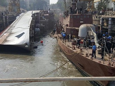 Indian Navy Ship Betwa tips over in dockyard, 2 sailors dead