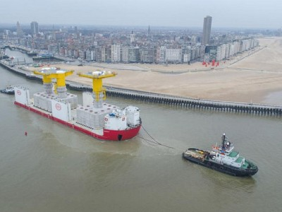 Gigantic foundations for the Danish offshore wind farm Kriegers Flak leave Port of Ostend