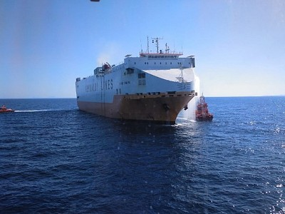 Car Carrier Grande America Catches Fire off Spain