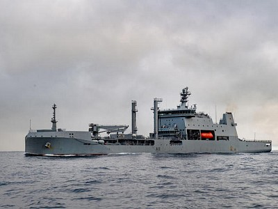 HMNZS Aotearoa, huge new navy ship, arrives home for first time