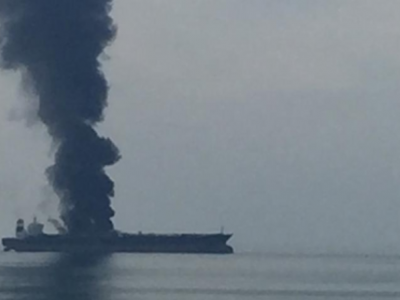 Persian Gulf - Tanker on fire, probably abandoned VLCC, ZOYA 1