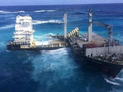 Oil Deposits Escape from Cyclone-Battered Kea Trader as Hull Pieces Collide