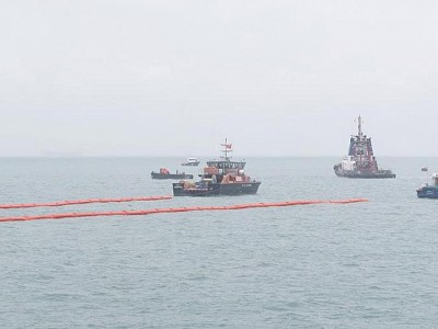 Oil Spill Clean-Up Efforts Continue after Boxship Collision off Johor