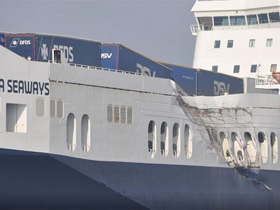 MSC container ship and DFDS ro-ro collided off Vissingen