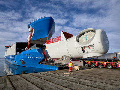 World's First Wind Turbine Components Carrier Opens Wide